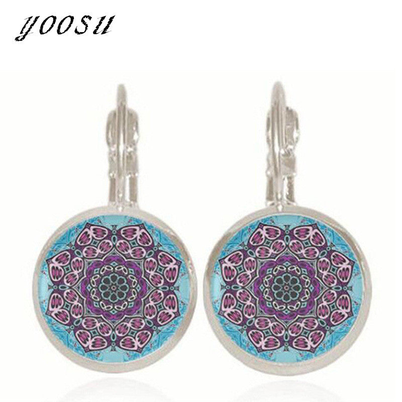 Handmade Mandala Flower Glass Earrings Jewelry For Women Henna Yoga Pending Earrings Fashion Jewelry Online Shopping India