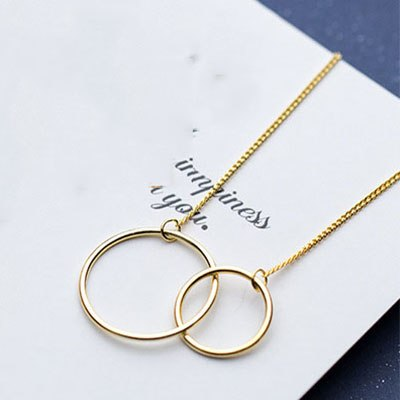 Handmade Simple Women Double Round Necklace Pendant 925 Sterling Silver Necklace Long Chain Christmas Gift Fashion Jewelry D3544