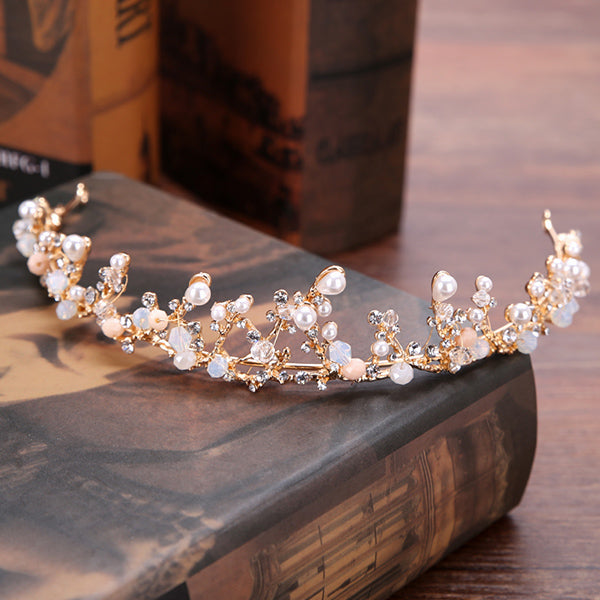 Handmade Vintage Gold Bride Tiaras Pearl Rhinestones Wedding Princess Crowns Bride Hair Jewelry Wedding Accessories