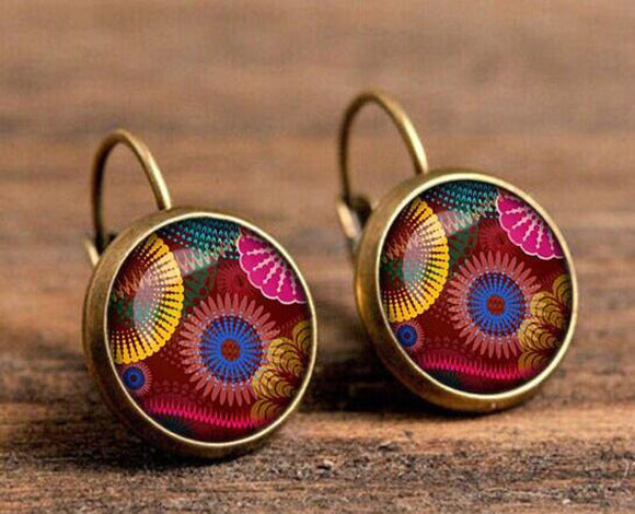Handmade Women Fashion Earrings Jewelry Mandala Henna Flower Stud Earrings Yoga OM Symbol Buddhism Zen Earrings Online Shopping
