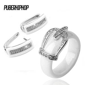 Health Material Wedding Jewelry Sets for Women Classic Crystal Crown Bride Engagement Stud Earrings & Rings Wedding Bride Sets