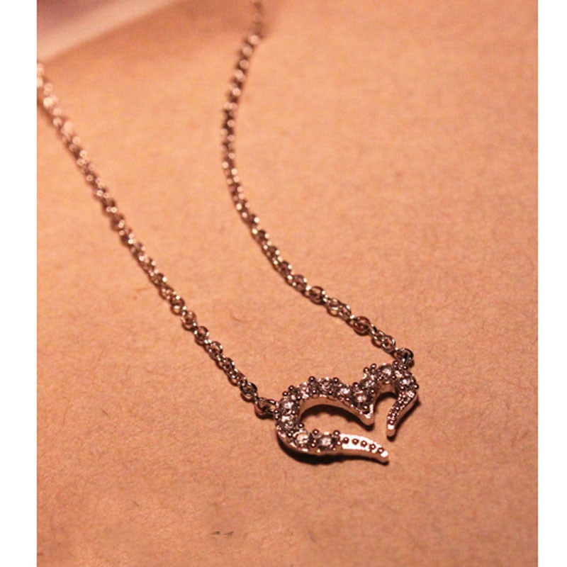 Heart Necklace - New Fashion Hot Sale Gold Silver Small Crystal Cute Love Heart Necklace #1786447