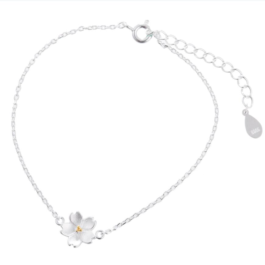 925 Sterling Silver Bracelets for Women Simple Cherry Blossom Chain Link Bracelet Flower Girl Gift Bridesmaid Bracelet
