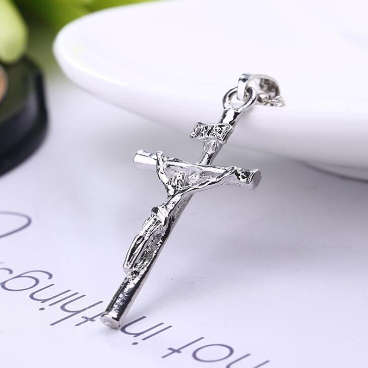 High Quality 2017 Hot new fashion JESUS cross pendant necklaces silver Gold chain Gift for men women necklace Fine jewelry