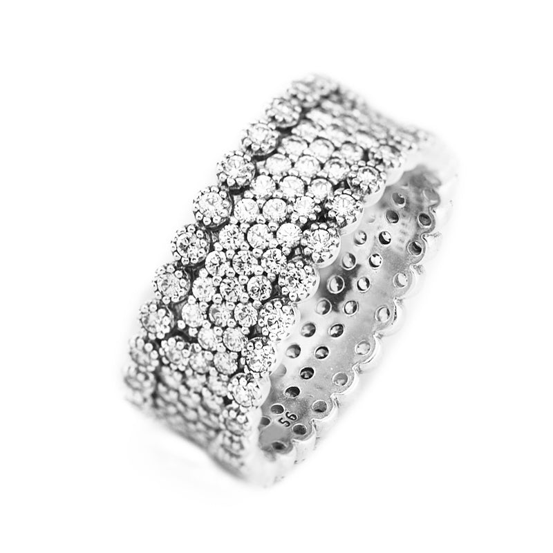 High Quality Authentic 925 Sterling Silver Rings Lavish Clear CZ Ring Engagement Wedding Europe Fine Jewelry Accessories