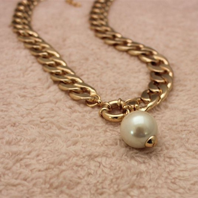 High Quality Fashion Big Simulated Pearl Pendant Necklaces For Women Luxury Jewelry Korean Style Sweater Accessories x221