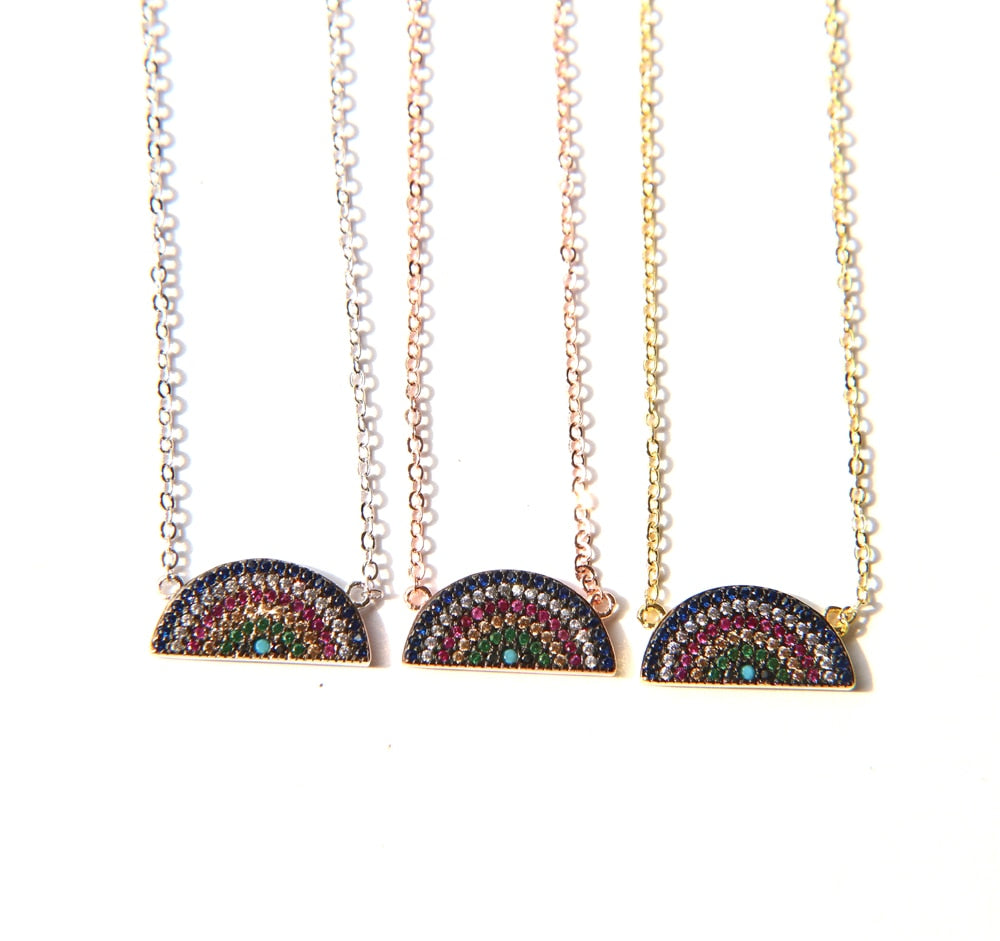 High Quality Half Rainbow charm paved cz Turquoises multi color stones pendant necklace for Girl Women Necklace 3colors chain