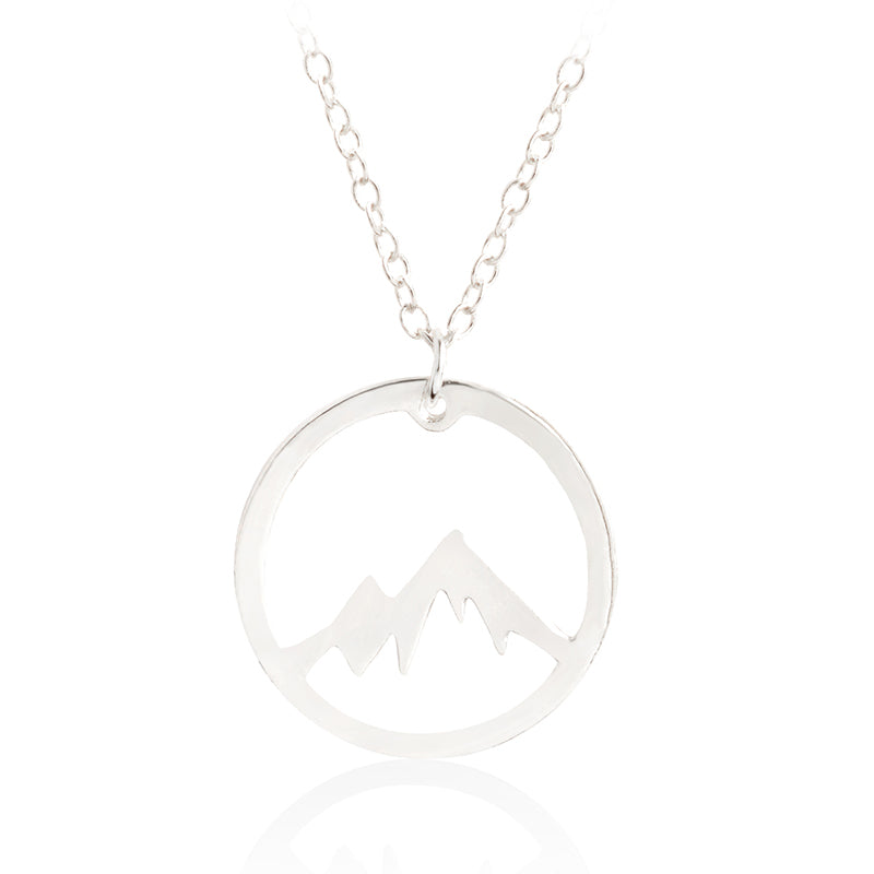 Hollow Mountain Range Pendant Necklace Round Gold Silver Minimalist collar Simple Fashion Adventure Nature Jewelry Gift for kids