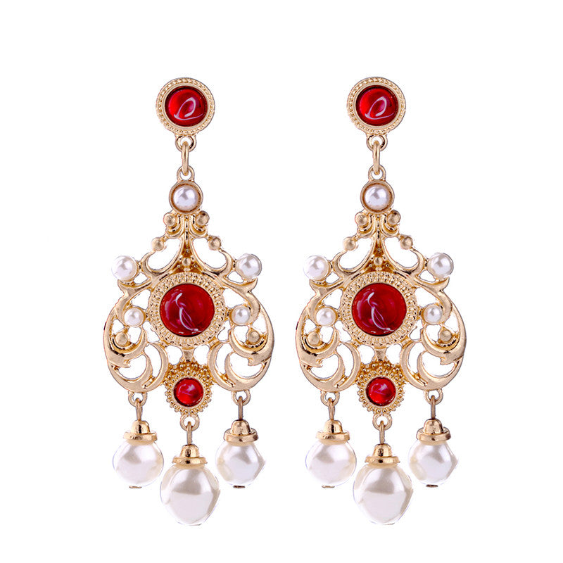 Hollowed Alloy Simulated Pearl Earrings Online Shopping India Fashion Patterned Red Hanging Earrings Jewelry