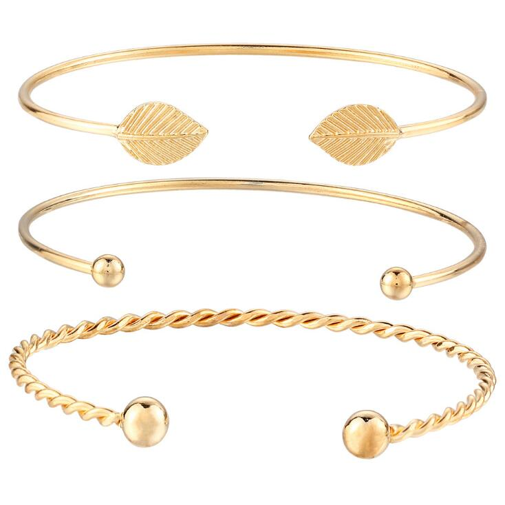 Hot 2020 New fashion jewelry Gold Color leaf cuff bangle 1 set 3 pieces Charm Bracelets & Bangles for women girl best gift