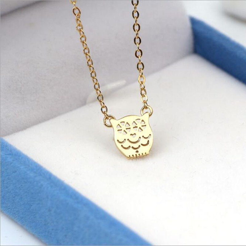 Hot Popular Cute Animal 925 Sterling Silver Jewelry Owl Female Simple Hollow Accessories Clavicel Chain Pendant Necklace H246