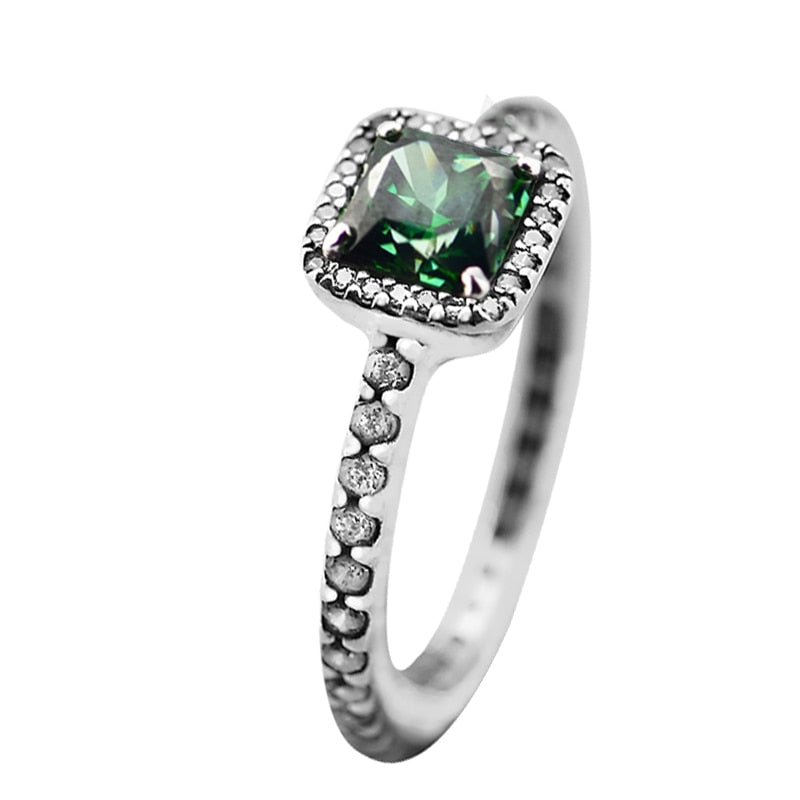 Hot Sale 925 Sterling Silver Timeless Elegance Rings for Women Green & Clear CZ Sterling-Silver-Jewelry Ring Wedding Jewelry