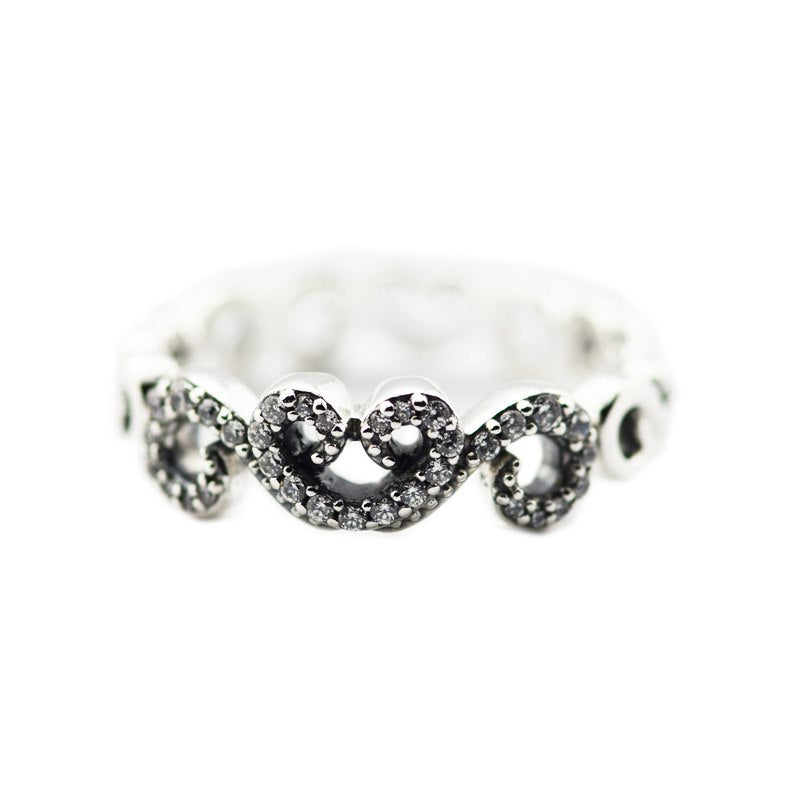Hot Sale Pure 925 Sterling Silver Rings for Women Clear CZ Heart Swirls Ring Engagement Wedding Gift Jewelry Making #50-58
