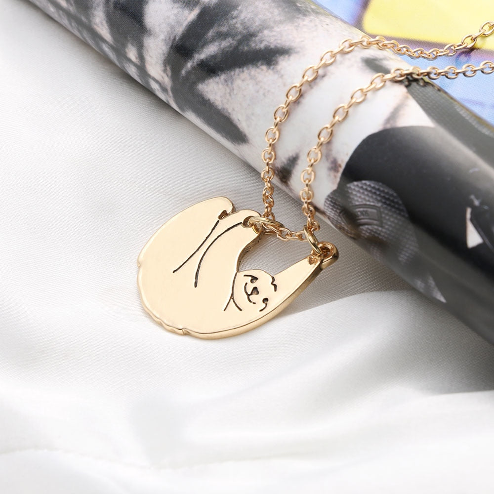 Hot Sale Sloth Pendant Necklaces Alloy Chain Gold/Silver Plated Jewelry Gift for Animal Protector Crazy Animal City Unisex
