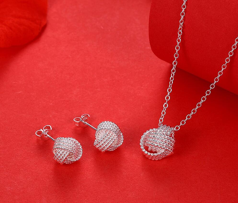 Hot Sale Wholesale Fashion Jewelry Set 925 stamp silver plated Rose Ball Slide Necklaces & Earrings Valentine's D Gifts Bridal