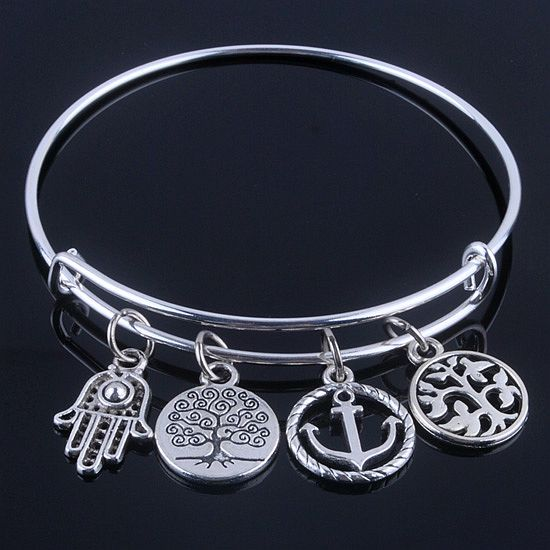 Hot sale plated silver bracelets bangles adjustable expandable wire bracelets with anchor & life trees charms jewelry for women