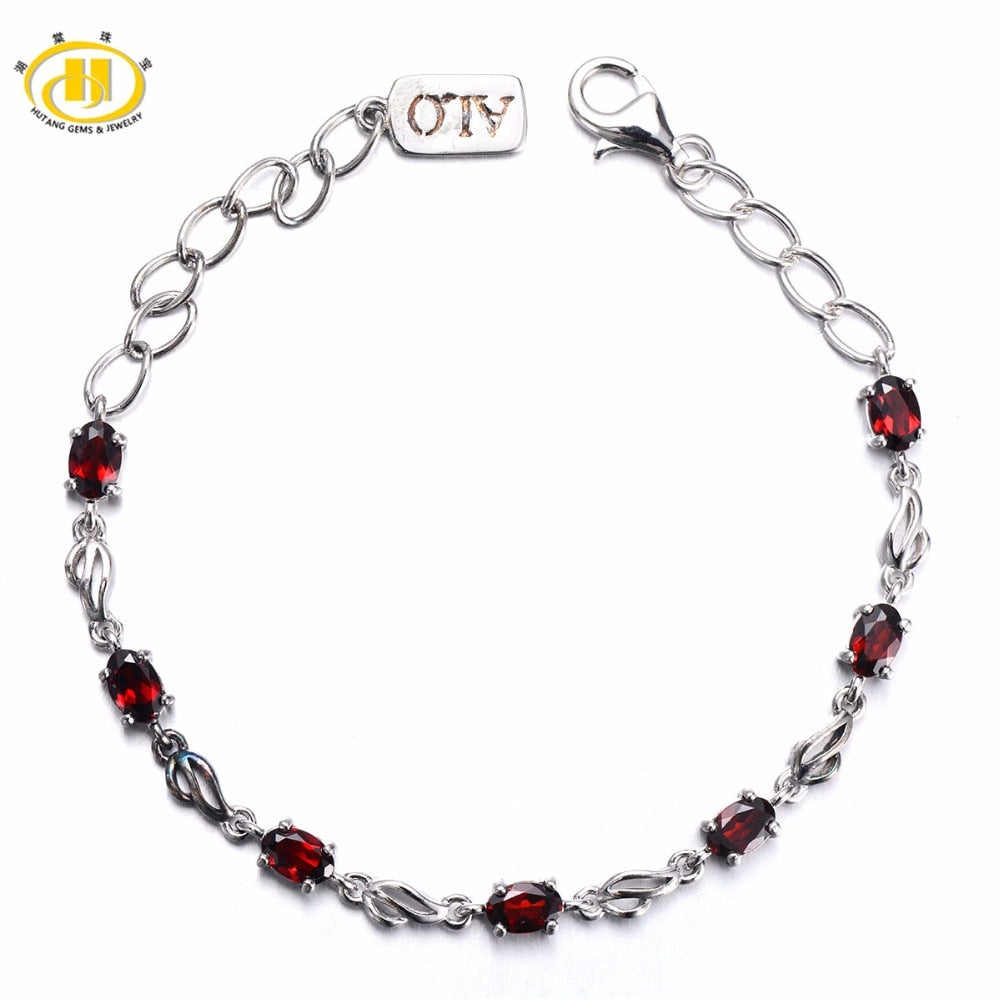88aaaefbe Hutang 3.99 ct Natural Gemstone Garnet Solid 925 Sterling Silver Link  Bracelet Fine Stone Jewelry For