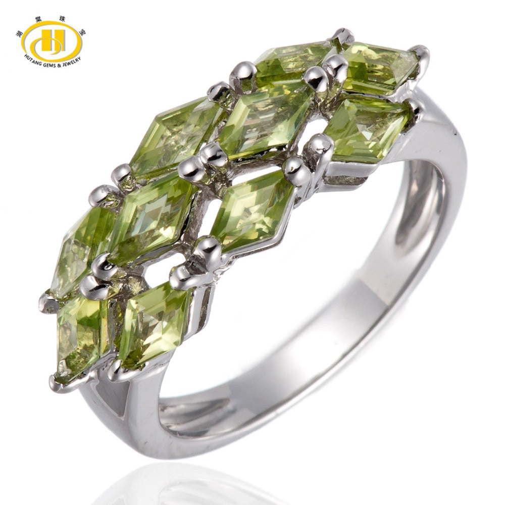 Hutang August Birthstone Natural Green Peridot Gemstone Sterling Silver 925 Ring Fine Stone Jewelry For Women's Gift