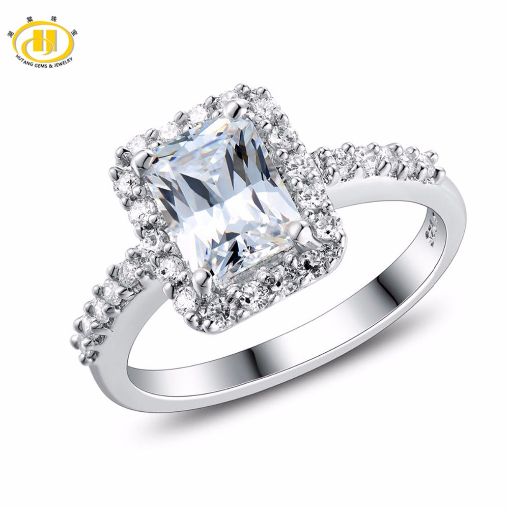 Hutang Engagement Ring Solid 925 Sterling Silver Classic Women's Girls' Crystal Fine Stone Jewelry New Arrival Similar Diamond