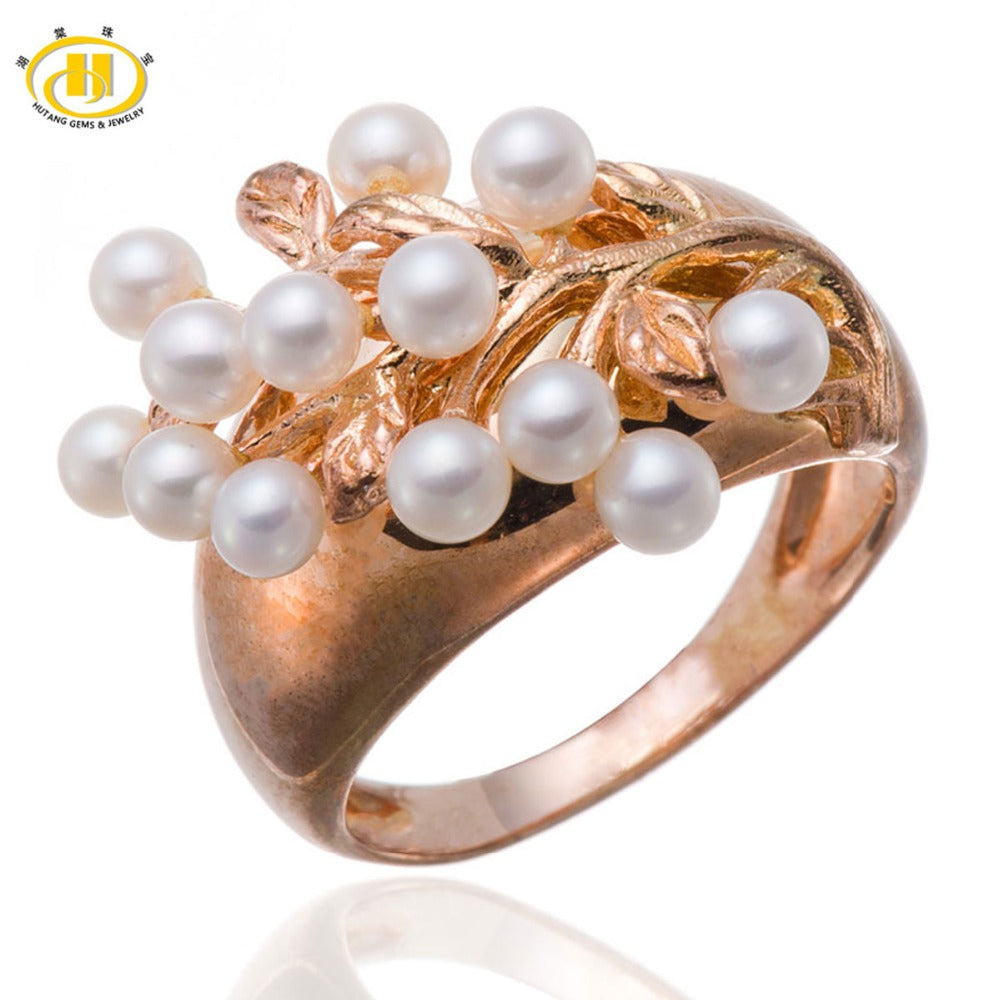 Hutang Cultured Pearl Solid 925 Sterling Silver Ring Fine Jewelry For Women