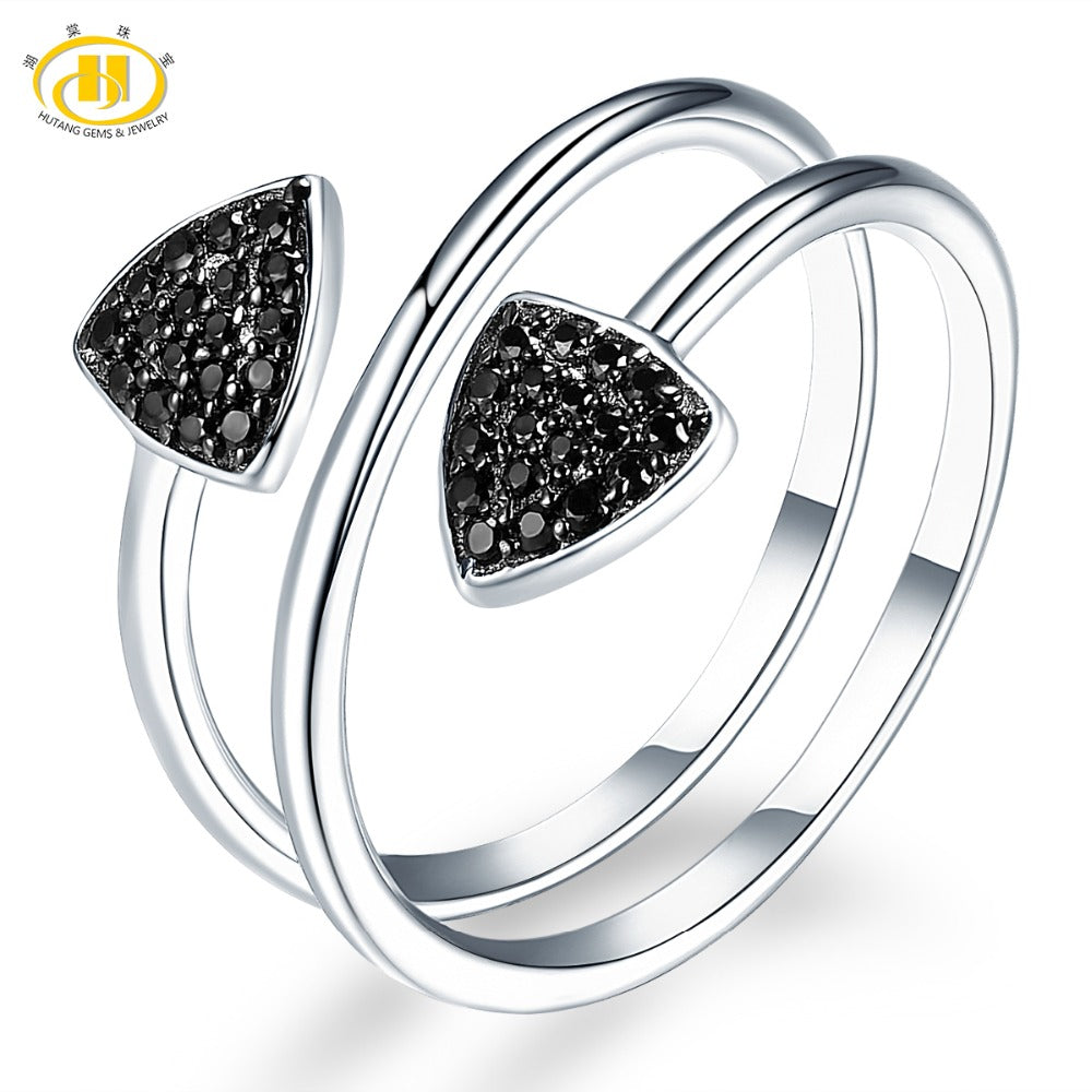 Hutang Gemstone Jewelry Natural Black Spinel Solid 925 Sterling Silver Ring Engagement Fine Fashion Stone Jewelry For Women Gift