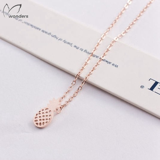 Silver Rose Gold Erkek Kolye Pineapple Charm Pendant Necklaces Chain Stainless Steel Jewelry For Women Bridesmaid Gift