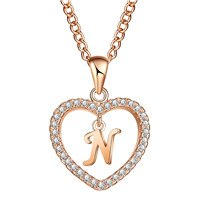 Love Heart Crystal Gold Silver Color N Letter Initial Name Necklace CZ Pendant For Women Elegant Choker Jewelry Girl Gifts