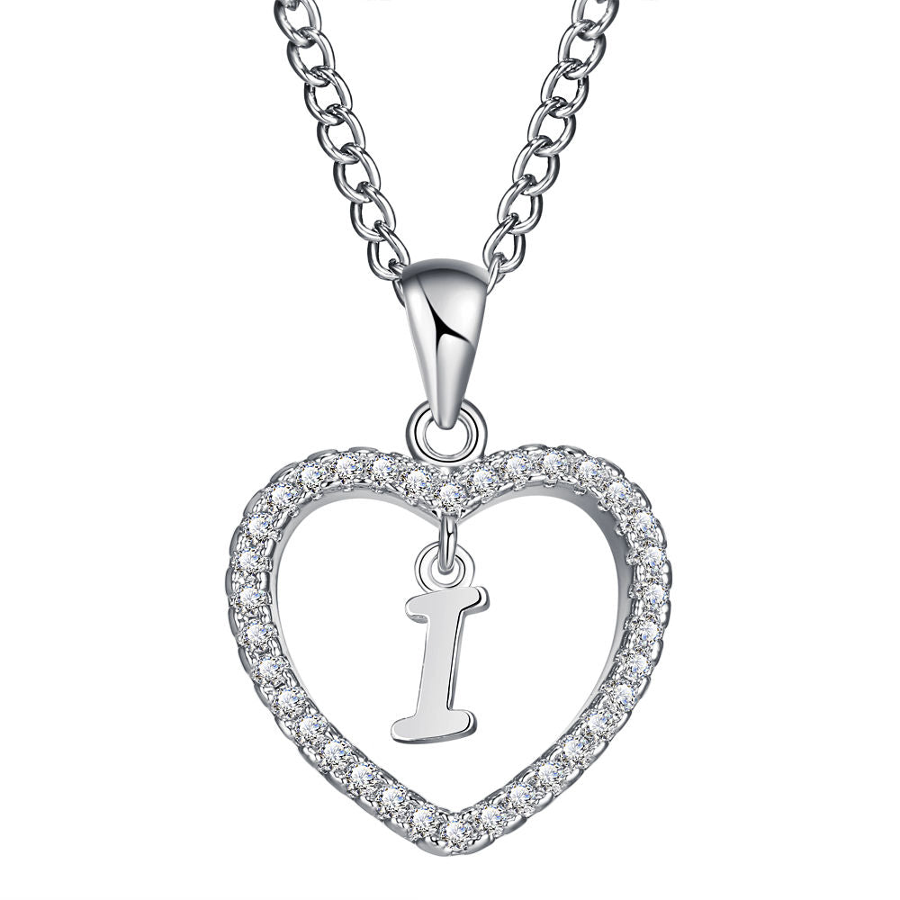 Romantic Silver Color CZ Love Heart Crystal Pendant Letter Necklace Charms Women 26 Capital Letters A Z Statement Jewelry