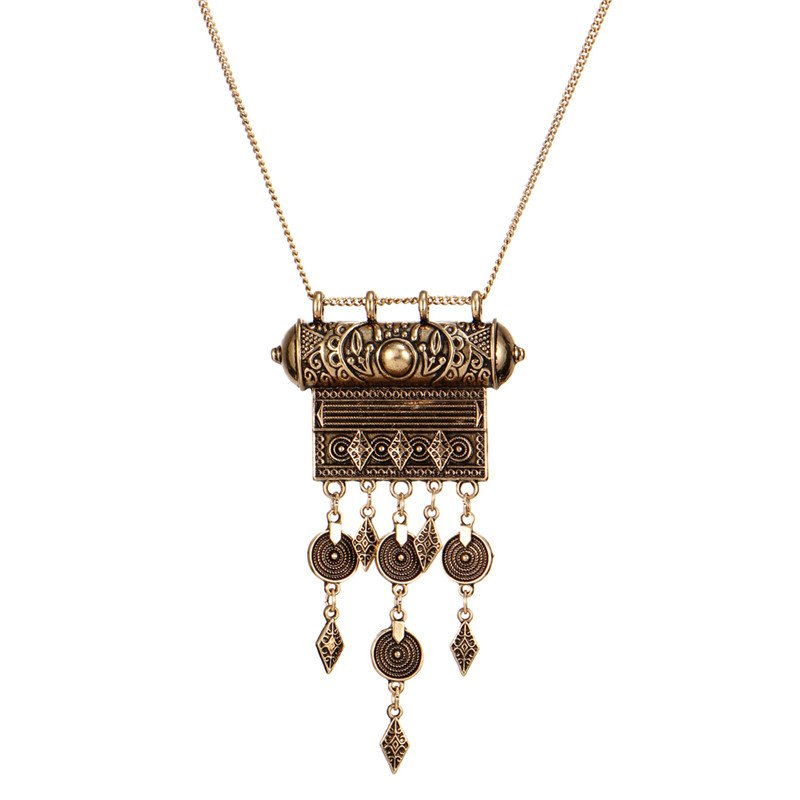IF ME Vintage Tassel Pendant Necklaces Geometry Coin Long Statement Necklaces Antique Silver Color Sweater Ethnic Necklaces