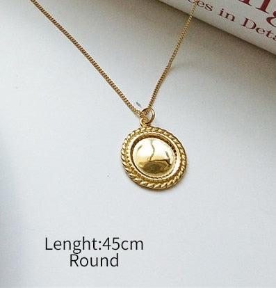 56371f61ba MINImalist Gold Round Square Rose Flower Pendant Necklace 925 Sterling  Silver Jewelry 45CM or 55CM Chain