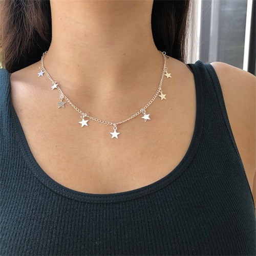Fashion Women Gold Color Chain Tassel Star Pendant Necklace And Heart Pendant Necklace Woman Choker Necklaces