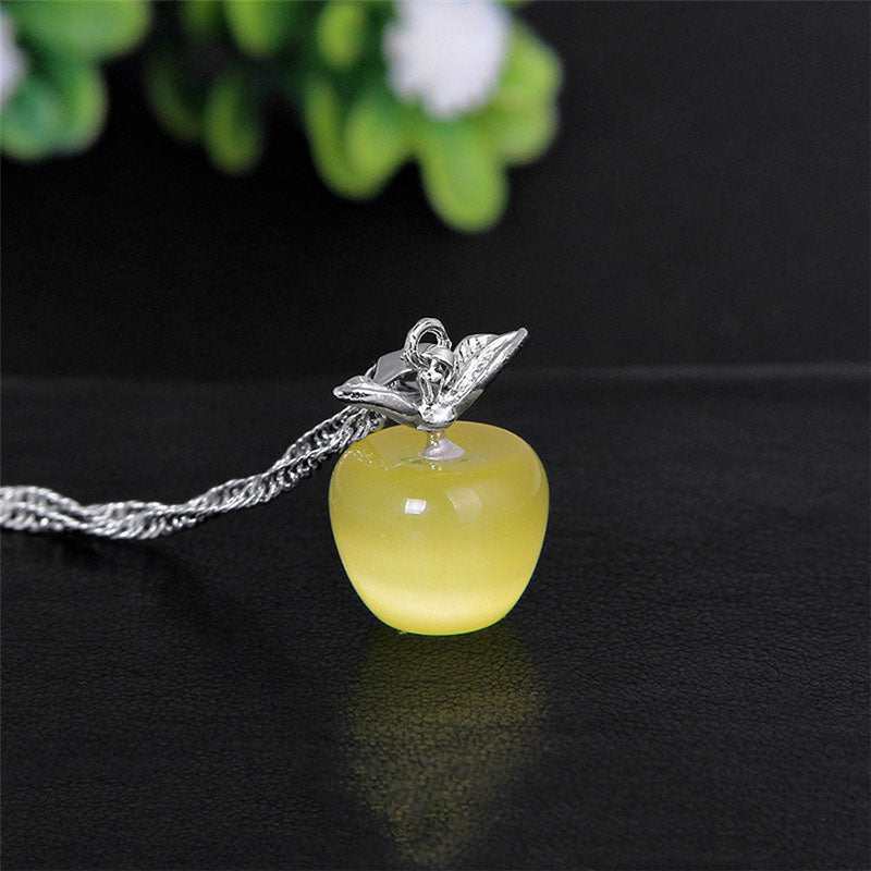 Fashion Crystal Apple Pendant Silver Chain Fruit Necklace For Women Girls Elegant Jewelry Pink Red Blue White Green Opal