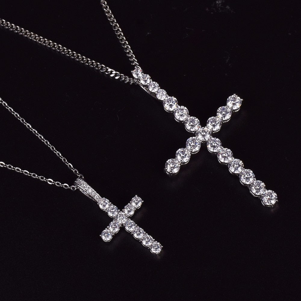 Iced Zircon Two Cross Necklace Set Gold Silver Copper Material Bling CZ Cross Necklace Chain Men Women Hop Jewelry