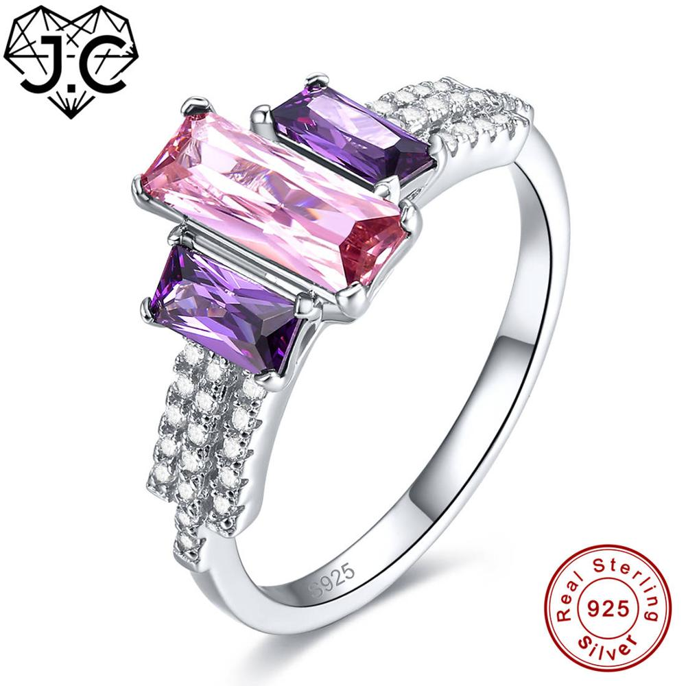 2020 New Amethyst Rainbow & Pink White Topaz 925 Sterling Silver Ring Size 6 7 8 9 For Women Wedding Engagement Fine Jewelry