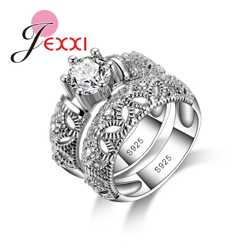 Charming Shiny 925 Sterling Silver Wedding 2 Rings Set For Couple Exquisite CZ Crystal Engagement Anniversary Jewelry