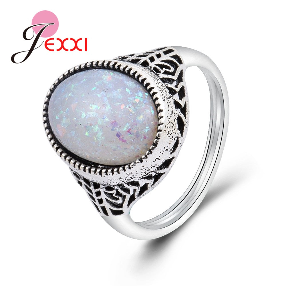 Fire Round Shape Opal Ring for Women Anniversary Appointment Statement Jewelry High Quality Mother Birthd Gift Popular