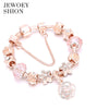 Elegant Jewelry Gift Fashion Glamour Hot Rose Gold Flower Pendant Bracelet Pandora charm bracelet for women