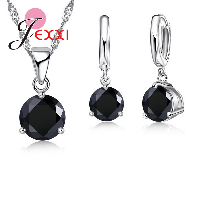 New 2020 Crystal Necklaces Set 8 Colors 925 Sterling Silver Pendants Stud Earring Sets Women Cubic Zircon Jewelry