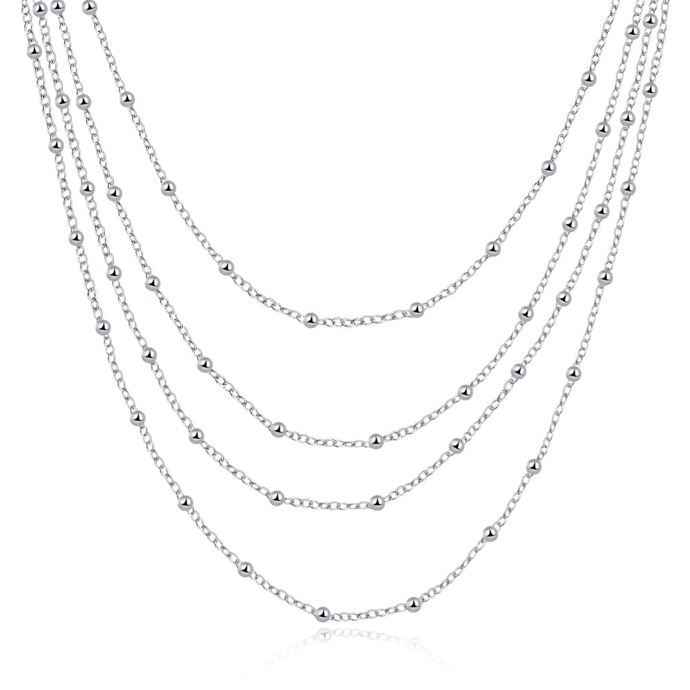 Women's Vintage Simple Design Four Layers Long Chain 925 Sterling Silver Necklace For Women Bridesmaid Gift