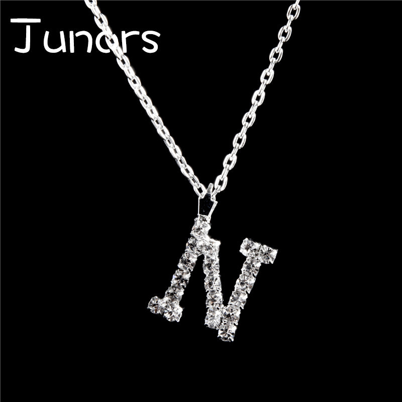 Letter Necklaces Pendants Initial Alphabet Necklace Sliver Color Silver Plated Necklace For Women Girl Birthd Gift