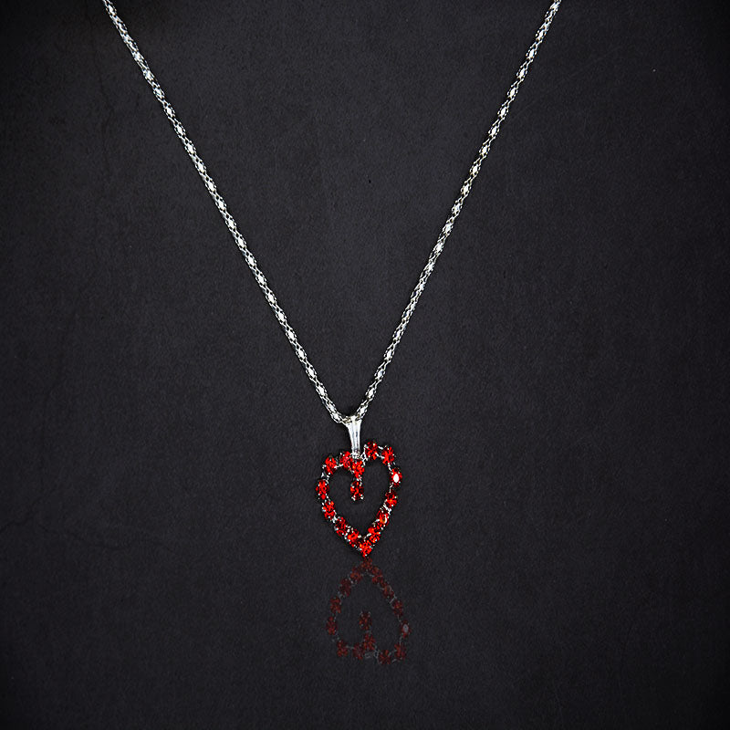 New Tiny Colorful Heart Pendant&Necklace Silver Plated Chain Two Color Quality Crystal New Fashion Simple Jewelry