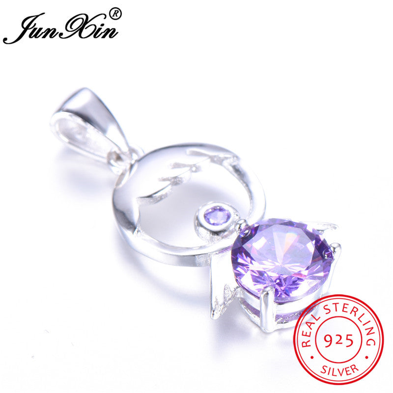925 Sterling Silver Cute Angel Pendant Elegant Purple Zircon Necklace For Women Simple Wedding Necklaces & Pendants