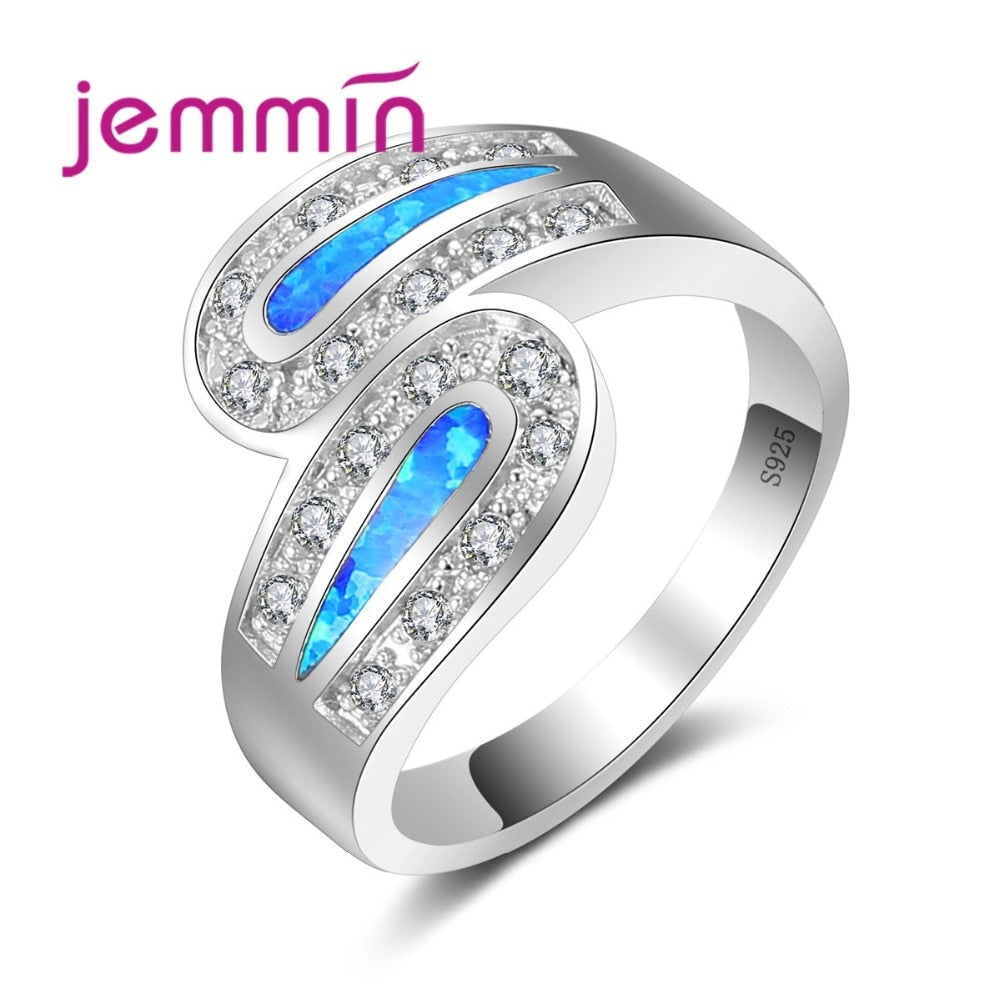 Brand Geometric Design Fine 925 Sterling Silver Rhinestone Rings For Party Jewelry Women Bridal Wedding Bands Ring
