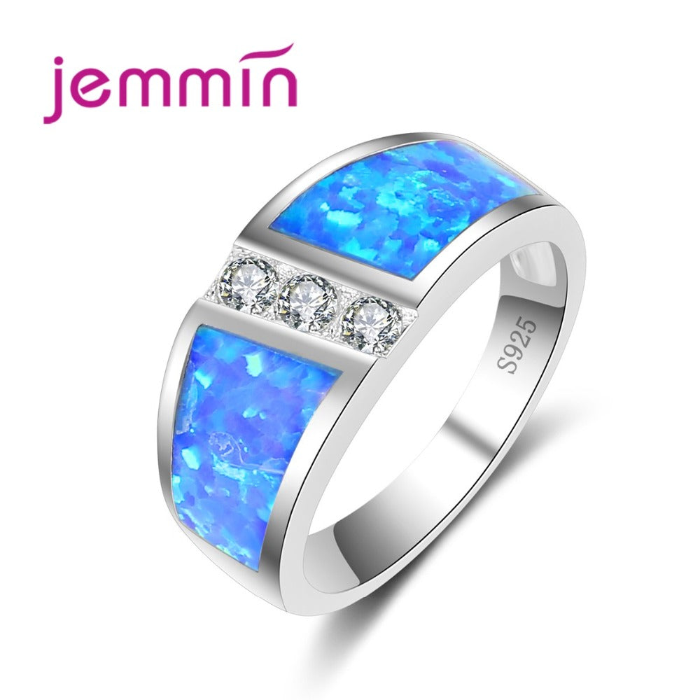 Elegant Women Blue Opal Rings For Party Bridal Wedding Jewelry 925 Sterling Silver Engagement Anniversary Anillos Bijoux