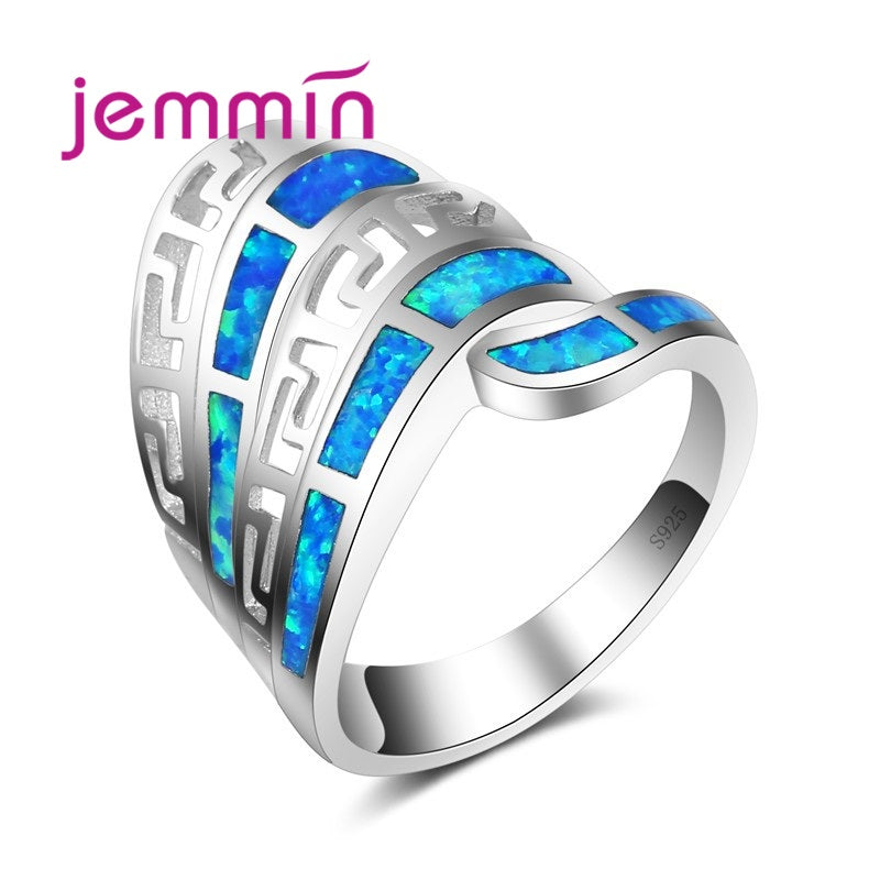 Fashion Geometric Blue Fire Opal Ring 925 Sterling Silver Jewelry Vintage Wedding Rings For Men And Women
