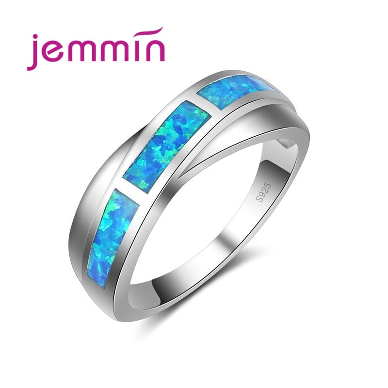 Hot Sale New Simple Ring Blue Created Fire Opal Rings for Women Trendy Engagement Wedding Band Jewelry Size 6 7 8 9