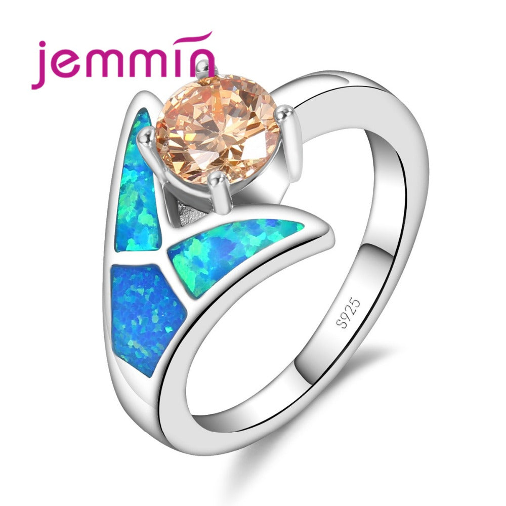 New Arrival Blue Fire Opal Jewellery Wedding Rings Wholesale 925 Sterling Silver Opal Ring For Women Charm Jewelry