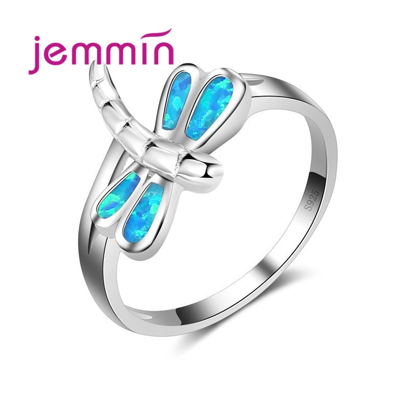 New Promotion Dragonfly Shaped Ring 925 Sterling Silver Blue Fire Opal Rings for Women Wedding Sweet Trendy Fine Jewelry