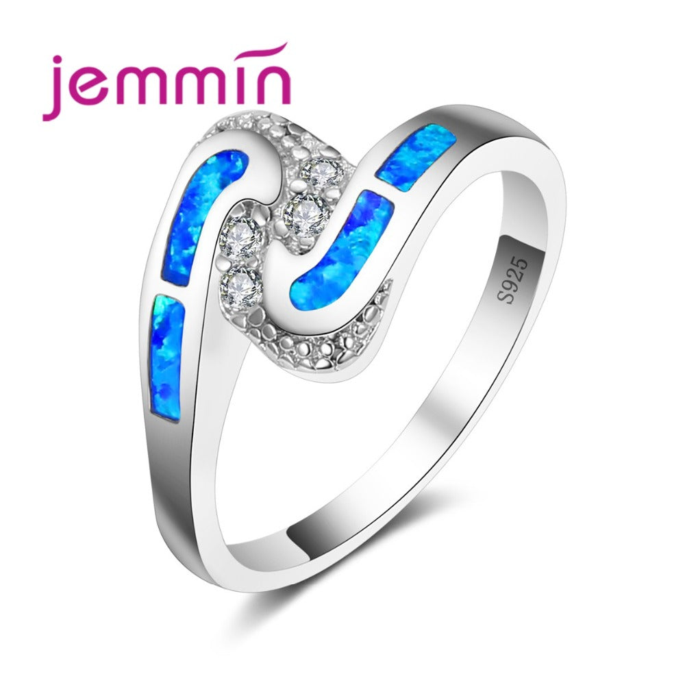 Unique Geometric Design Fine Clear Rhinestone Wedding Engagement Rings For Women Blue Fire Opal 925 Sterling Silver Ring