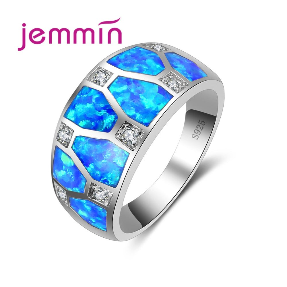 Valentine's D Gift Blue Opal Men Rings With Rhinestone Vintage S925 Sterling Silver Wedding Engagement Ring For Woman